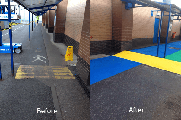 line marking before and after
